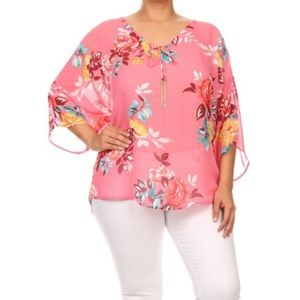 Tops - Pink Floral Plus Size Top
